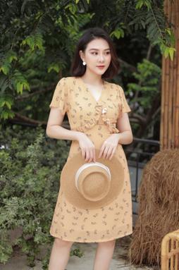 Đầm midi cổ V tay ngắn - Vàng hoa nhí