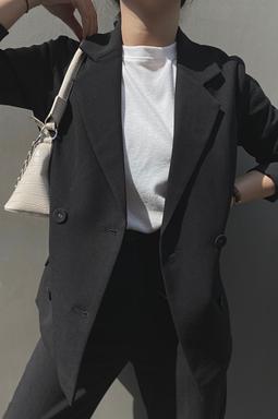 Elegent Long Blazer - Đen