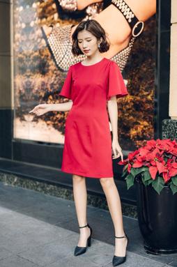 Đầm cổ tròn tay loe 2 lớp - Đỏ