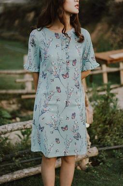 Dạ đầm hoa bèo cổ tay - Hoa xanh