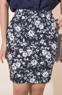 Chân váy bút chì kaki hoa - Rêu