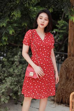 Đầm midi bo tay - Hoa đỏ