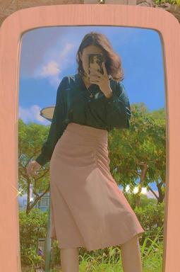 Chân váy dài thun eo - Nâu mộc