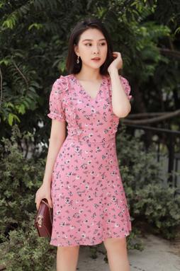 Đầm midi bo tay - Hoa hồng
