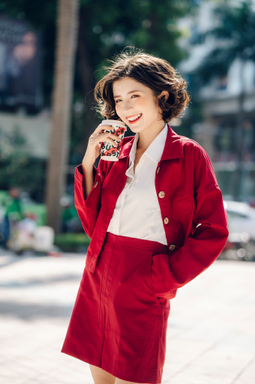 Áo khoác kaki nút gỗ - Đỏ Đô