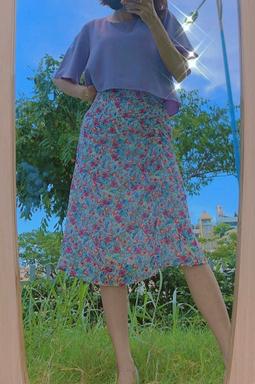 Chân váy dài thun eo - Hoa tím