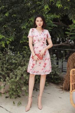 Đầm midi cổ V tay ngắn - Hoa cam