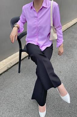 Sơ mi tay dài vạt bầu - Tím Lilac